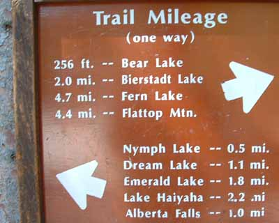 Bear Lake trail sign