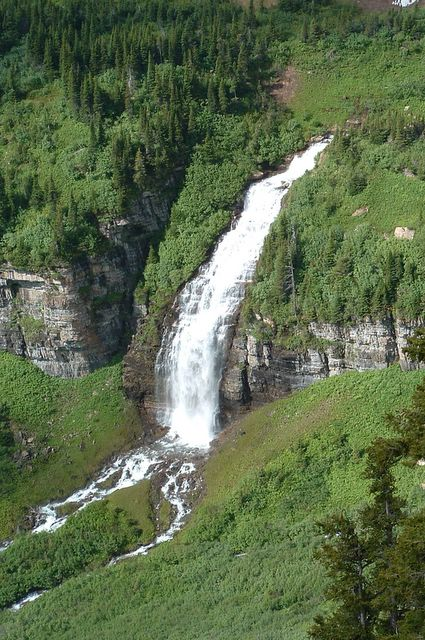 photo of waterfall on Going to the Sun Road