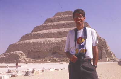Photo of my brother, Justin, in front of the Step Pyramid