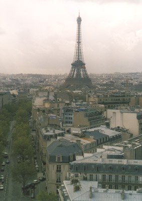 Photo from the top of the Arc de Triomphe with the Eifel Tower in the background
