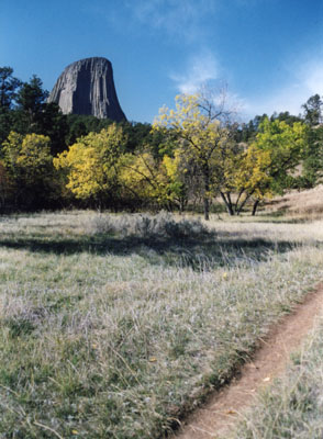 Photo with Devils Tower in backgound