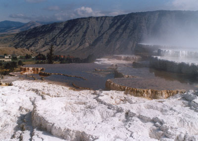 Photo of Mammoth Hot Springs with Hotel in the distant backgound