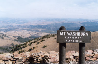 Photo of view from atop Mount Washburn