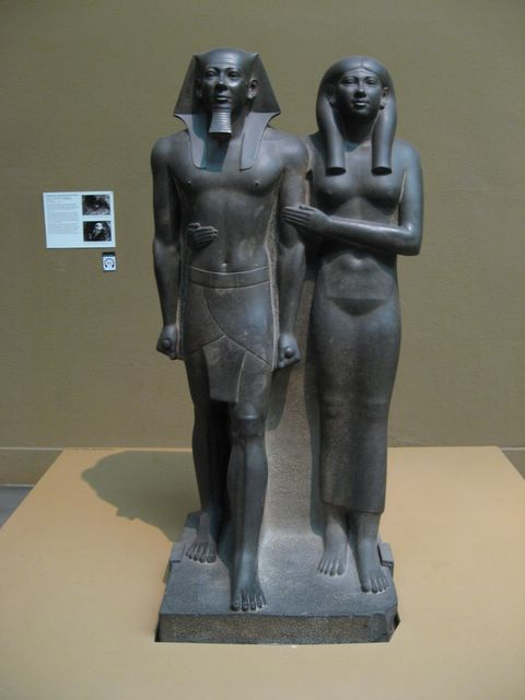Photo of King Mankaure statue, Boston Museum of Fine Arts