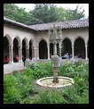Courtyard next to cafeteria with very small selection of food at the Cloisters, NYC